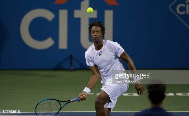 Gael Monfils of France competes with Yuki Bhambri of India at William H.G. FitzGerald Tennis Center on August 2, 2017 in Washington, DC.
