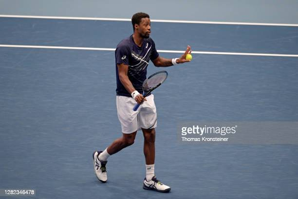 Gael Monfils of France discusses with the referee during his match against Pablo Carreno Busta of Spain during day three of the Erste Bank Open...