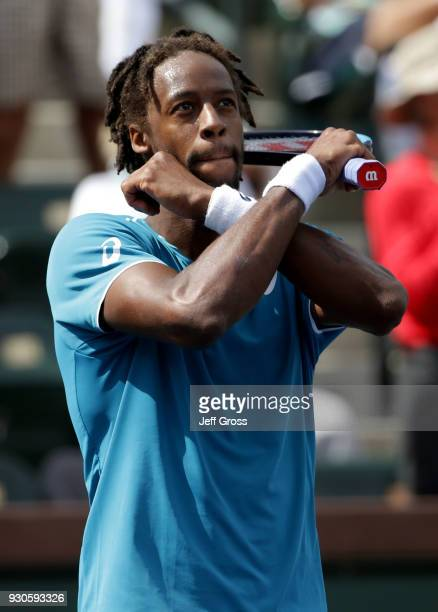 Gael Monfils of France does a black panther celebration following his victory over John Isner during the BNP Paribas Open on March 11 2018 at the...