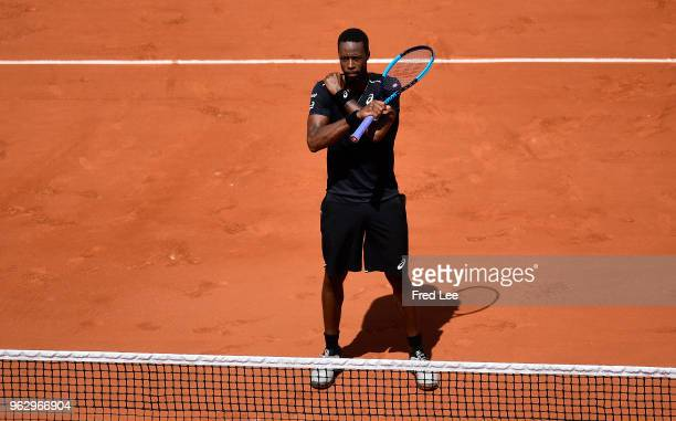 Gael Monfils of France does a black panther celebration following his victory over Elliot Benchetrit of France against during day one of the 2018...