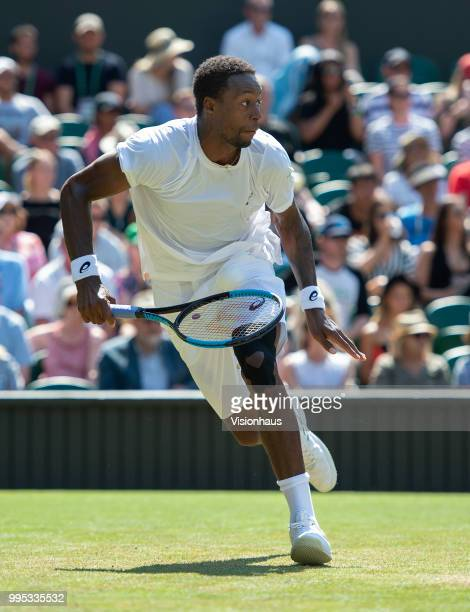Gael Monfils of France during his third round match against Sam Querrey of USA on day five of the Wimbledon Lawn Tennis Championships at the All...