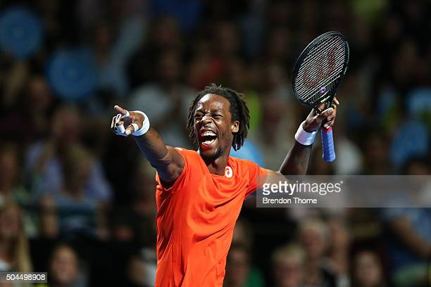 Gael Monfils of France gestures during the FAST4 Tennis exhibition match between Gael Monfils and Nick Kyrgios at Allphones Arena on January 11 2016...