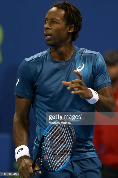 Gael Monfils of France gestures during the Qatar ExxonMobil Open 2018 Tennis Tournament Men's Final match against Andrey Rublev of Russia organised...