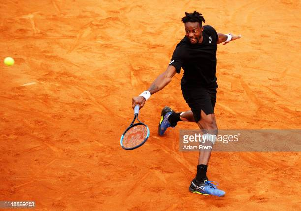 Gael Monfils of France hits a backhand during his first round match against Albert RamosVinolas during day two of the International BNL d'Italia at...