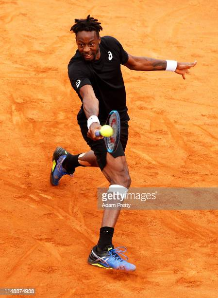 Gael Monfils of France hits a backhand during his first round match against Albert Ramos-Vinolas during day two of the International BNL d'Italia at...