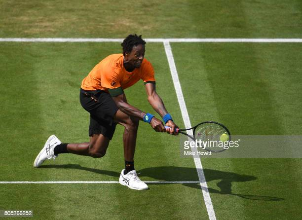 Gael Monfils of France hits a backhand during his mens singles final against Novak Djokovic of Sebia on day seven of the Aegon International...