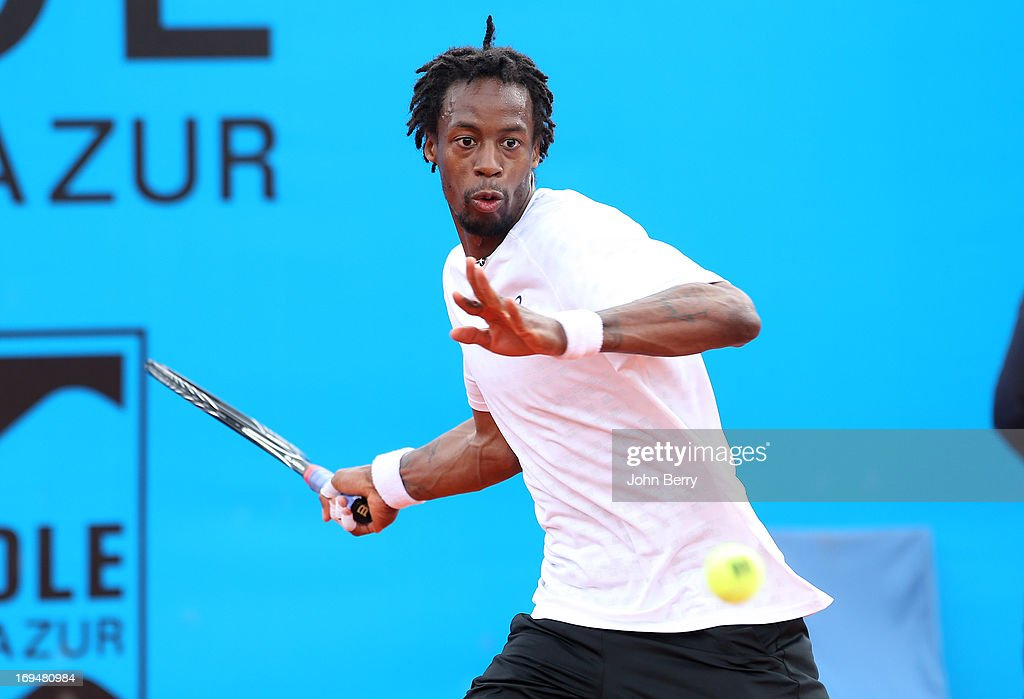 Gael Monfils of France in action against Albert Montanes of Spain in their final match during day seven of the Open de Nice Cote d'Azur 2013 at the Nice Lawn Tennis Club on May 25, 2013 in Nice, France.