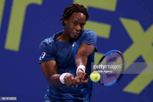 Gael Monfils of France in action against Andrey Rublev of Russia during the Qatar ExxonMobil Open 2018 Tennis Tournament Men's Final match organised...