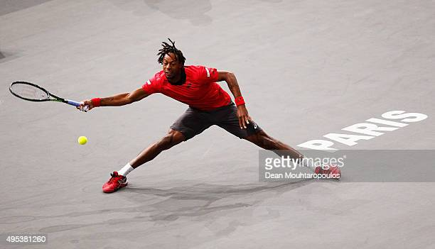 Gael Monfils of France in action against Benoit Paire of France during Day 1 of the BNP Paribas Masters held at AccorHotels Arena on November 2 2015...
