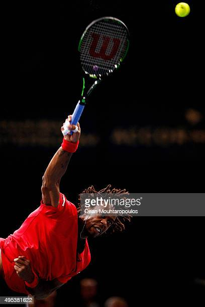 Gael Monfils of France in action against Benoit Paire of France during Day 1 of the BNP Paribas Masters held at AccorHotels Arena on November 2, 2015...