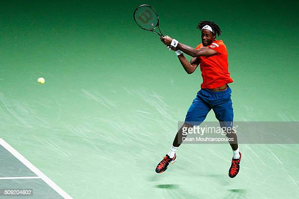 Gael Monfils of France in action against Ernests Gulbis of Latvia during day 2 of the ABN AMRO World Tennis Tournament held at Ahoy Rotterdam on...