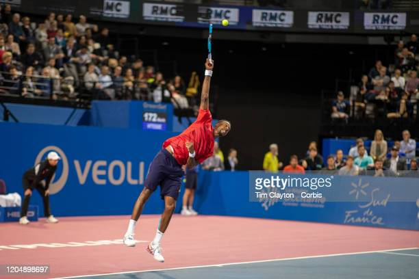 Gael Monfils of France in action against Filip Krajinovic of Serbia in the Semi Finals of the Open Sud de France Tennis Tournament at the Sud de...