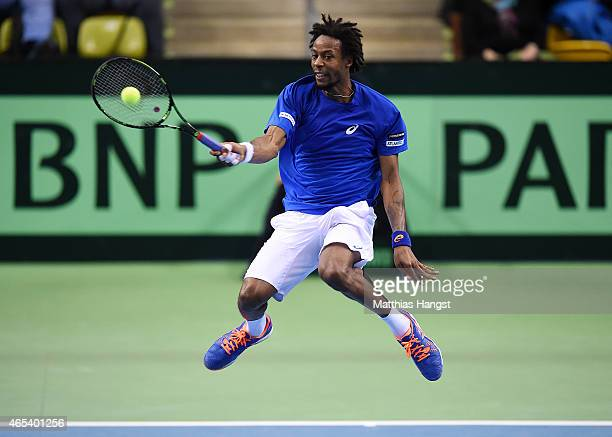 Gael Monfils of France in action against Philipp Kohlschreiber of Germany during day one of the Davis Cup World Group first round between Germany and...