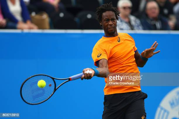 Gael Monfils of France in action during his mens singles match against Cameron Norrie of Great Britain during day five of the Aegon International...
