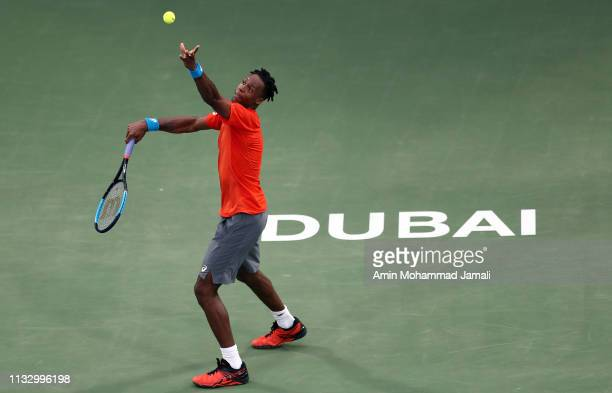 Gael Monfils of France in action during his semi final match against Stefanos Tsitsipas of Greeceduring day thirteen of the Dubai Duty Free Tennis...
