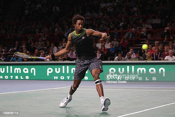 Gael Monfils of France in action during his semi-final match against Roger Federer of Switzerland during Day Seven of the ATP Masters Series Paris at...