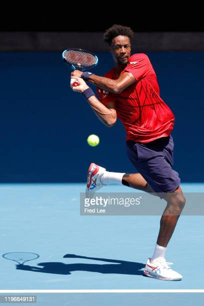 Gael Monfils of France in action during in his fourth round match against Dominic Thiem of Austria on day eight of the 2020 Australian Open at...