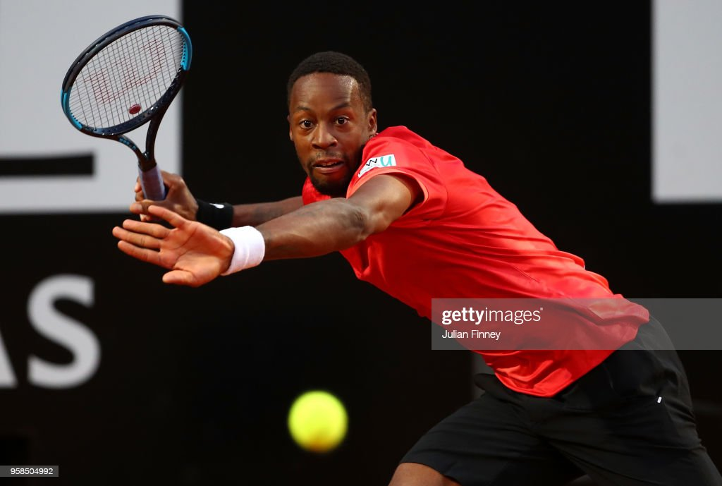 Gael Monfils of France in action in his match against Fabio Fognini of Italy during day two of the Internazionali BNL d'Italia 2018 tennis at Foro Italico on May 14, 2018 in Rome, Italy.