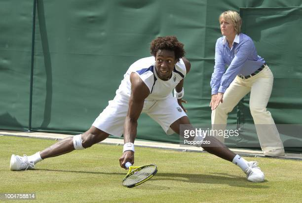 Gael Monfils of France in action on Day Six of the Wimbledon Lawn Tennis Championships at the All England Lawn Tennis and Croquet Club in London on...