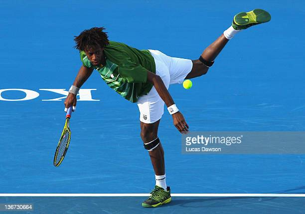 Gael Monfils of France kicks the ball during his match against Andy Roddick of the United States during day one of the AAMI Classic at Kooyong on...