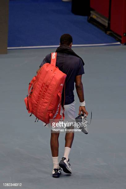 Gael Monfils of France leaves the court after surrendering in his match against Pablo Carreno Busta of Spain during day three of the Erste Bank Open...