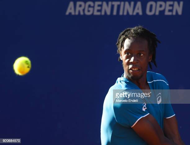 Gael Monfils of France looks at the ball during a semifinal match against Dominic Thiem of Austria as part of ATP Argentina Open at Buenos Aires Lawn...
