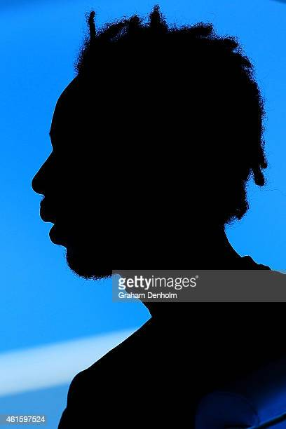 Gael Monfils of France looks on during a practice session ahead of the 2015 Australian Open at Melbourne Park on January 16 2015 in Melbourne...