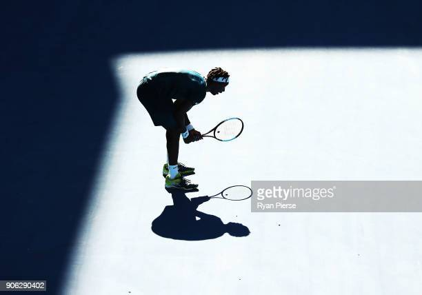 Gael Monfils of France looks on during his second round match against Novak Djokovic of Serbia on day four of the 2018 Australian Open at Melbourne...