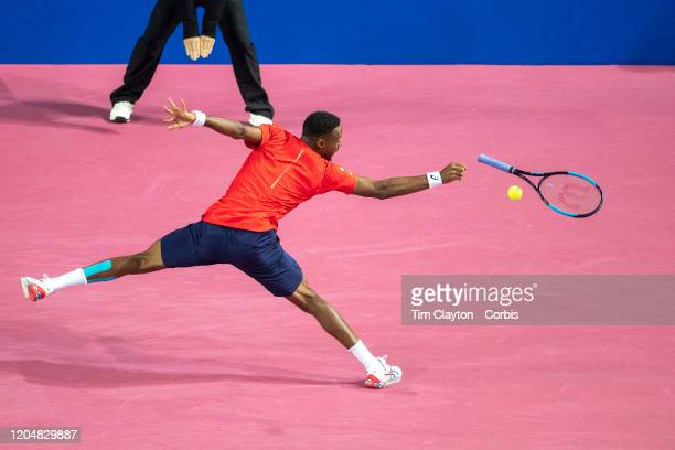 February 08: Gael Monfils of France loses the grip of his racquet as he plays a shot against Filip Krajinovic of Serbia in the Semi Finals of the...