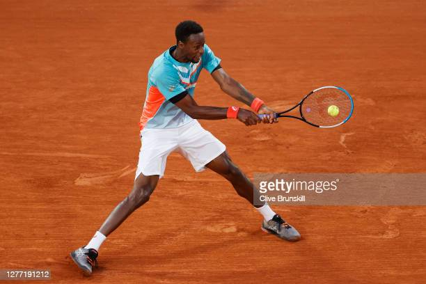 Gael Monfils of France plays a backhand during his Men's Singles first round match against Alexander Bublik of Kazakhstan on day two of the 2020...