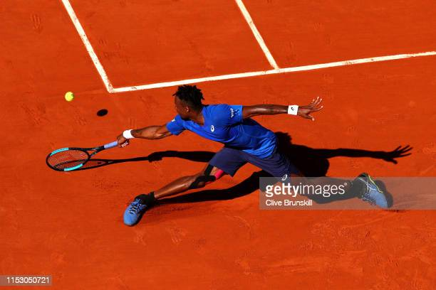Gael Monfils of France plays a backhand during his mens singles third round match against Antoine Hoang of France during Day seven of the 2019 French...