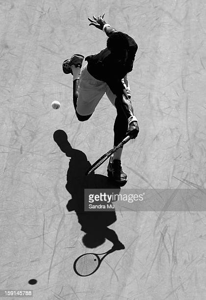 Gael Monfils of France plays a backhand in his second round match against Greg Jones of Australia during day three of the Heineken Open at ASB Tennis...