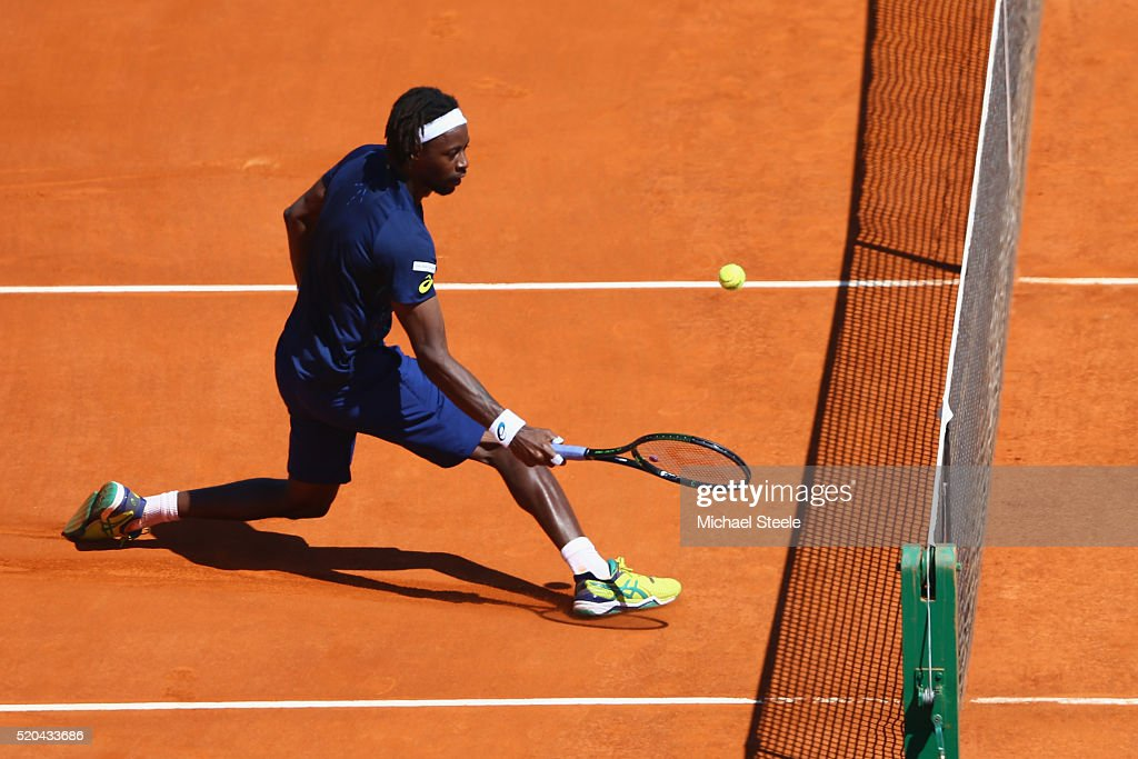 Gael Monfils of France plays a fine shot at the net during his match against Gilles Muller of Luxemburg during day two of the Monte Carlo Rolex Masters at Monte-Carlo Sporting Club on April 11, 2016 in Monte-Carlo, Monaco.