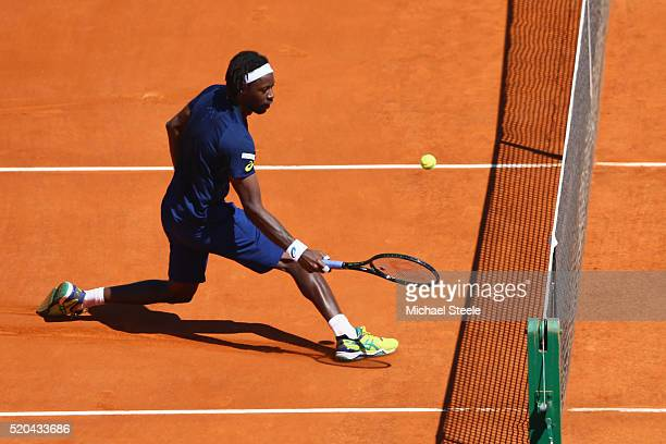 Gael Monfils of France plays a fine shot at the net during his match against Gilles Muller of Luxemburg during day two of the Monte Carlo Rolex...