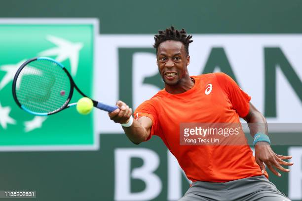 Gael Monfils of France plays a forehand against Albert RamosVinolas of Spain during their men's singles third round match on Day 8 of the BNP Paribas...