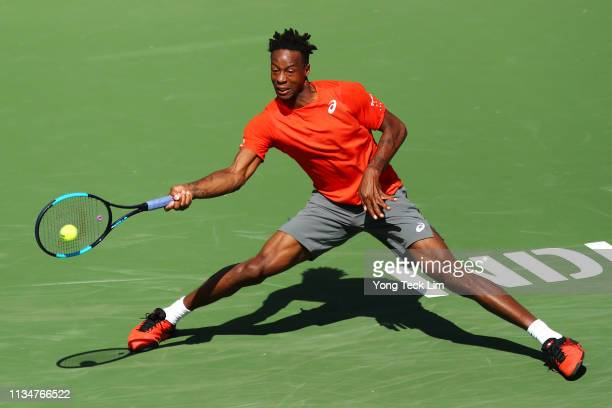 Gael Monfils of France plays a forehand against Leonardo Mayer of Argentina during their men's singles second round match on Day 6 of the BNP Paribas...