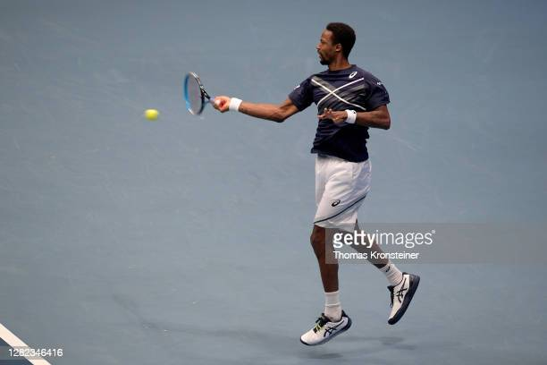 Gael Monfils of France plays a forehand during his match against Pablo Carreno Busta of Spain during day three of the Erste Bank Open tennis...