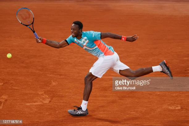 Gael Monfils of France plays a forehand during his Men's Singles first round match against Alexander Bublik of Kazakhstan on day two of the 2020...