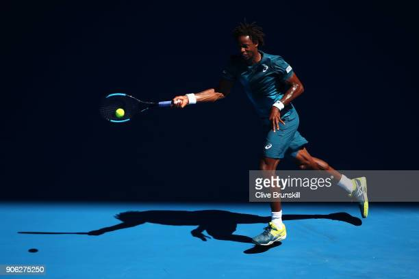 Gael Monfils of France plays a forehand in his second round match against Novak Djokovic of Serbia on day four of the 2018 Australian Open at...