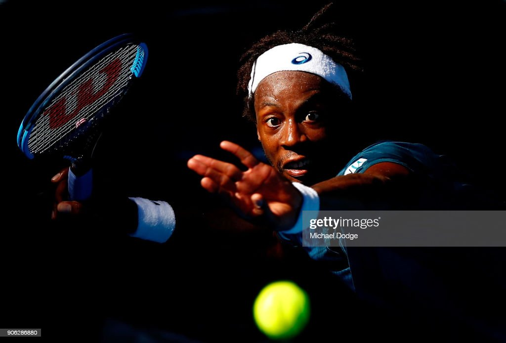 Gael Monfils of France plays a forehand in his second round match against Novak Djokovic of Serbia on day four of the 2018 Australian Open at Melbourne Park on January 18, 2018 in Melbourne, Australia.