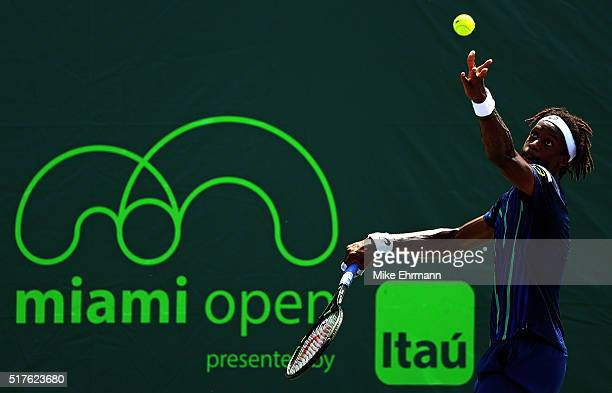 Gael Monfils of France plays a match against Tatsuma Ito of Japan during Day 6 of the Miami Open presented by Itau at Crandon Park Tennis Center on...