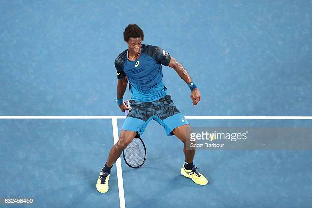 Gael Monfils of France plays a shot under his legs in his fourth round match against Rafael Nadal of Spain on day eight of the 2017 Australian Open...