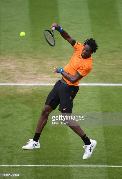 Gael Monfils of France plays a smash during his mens singles final against Novak Djokovic of Sebia on day seven of the Aegon International Eastbourne...