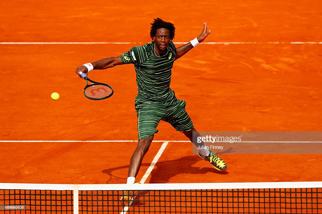 Gael Monfils of France plays a volley in his match against Andrey Kuznetsov of Russia during day three of the Monte Carlo Rolex Masters tennis at the Monte-Carlo Sporting Club on April 14, 2015 in Monte-Carlo, Monaco.