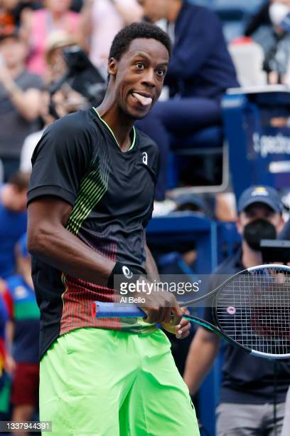 Gael Monfils of France reacts after winning against Steve Johnson of United States during during his Men's Singles second round match on Day Four of...