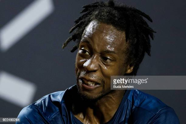 Gael Monfils of France reacts during a match against Marin Cilic of Croatia during the ATP Rio Open 2018 at Jockey Club Brasileiro on February 21...