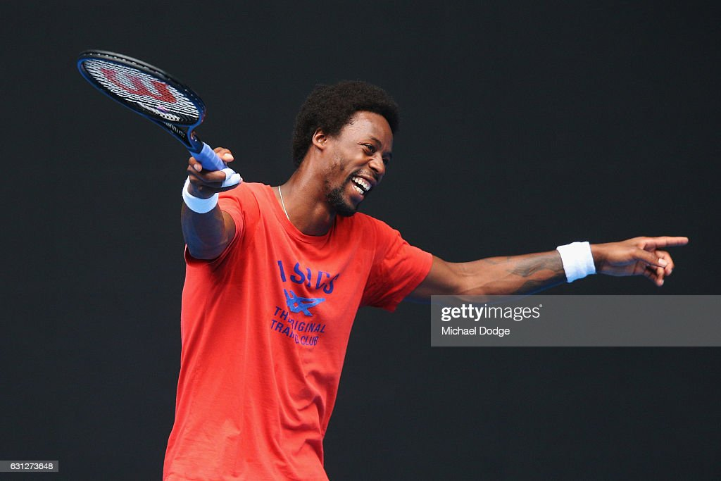 Gael Monfils of France reacts during a practice session ahead of the 2017 Australian Open at Melbourne Park on January 9, 2017 in Melbourne, Australia.