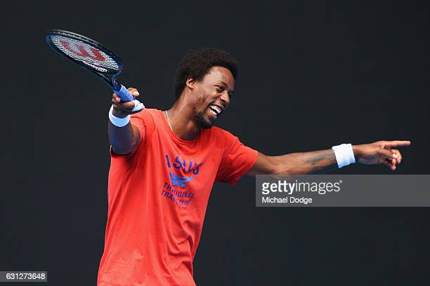 Gael Monfils of France reacts during a practice session ahead of the 2017 Australian Open at Melbourne Park on January 9 2017 in Melbourne Australia