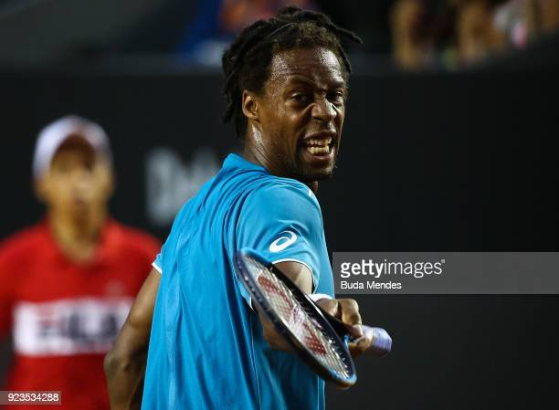 Gael Monfils of France reacts during his match against Diego Schwartzman of Argentina during the quarter finals of the ATP Rio Open 2018 at Jockey...