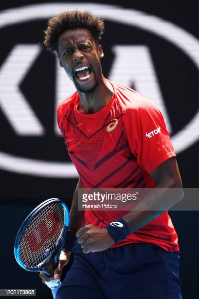 Gael Monfils of France reacts during his Men's Singles fourth round match against Dominic Thiem of Austria on day eight of the 2020 Australian Open...
